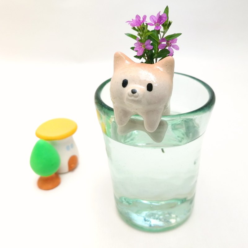 Shibainu single flower stand ceramics dog Free shipping