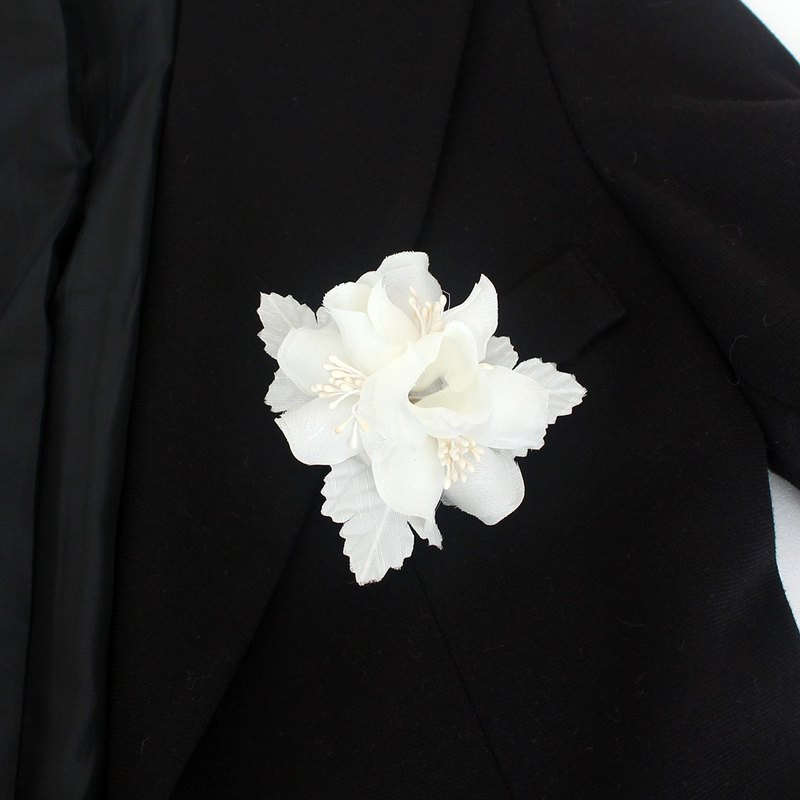 Leaf flower Ivory bridal flower hair clip and corsage ,Bridal hair piece ivory