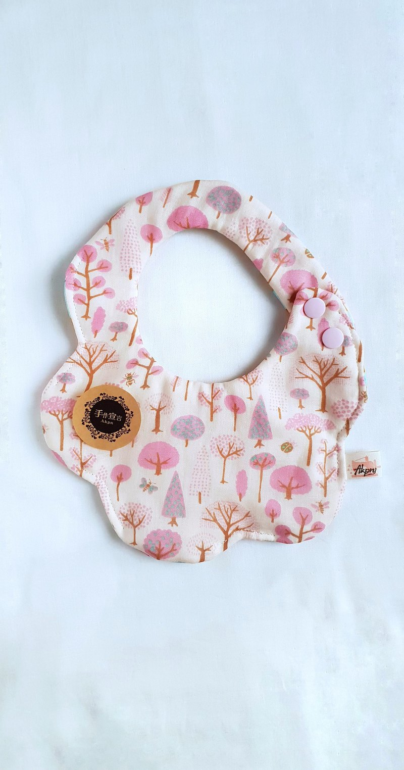 Forest Tree - Pink - Eight-Piece 100% cotton double sided arc shape bib. Saliva towel