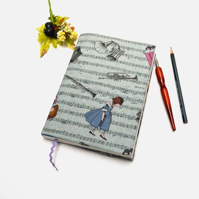 My movement book cover with bookmark handmade Print Cotton Fabric canvas
