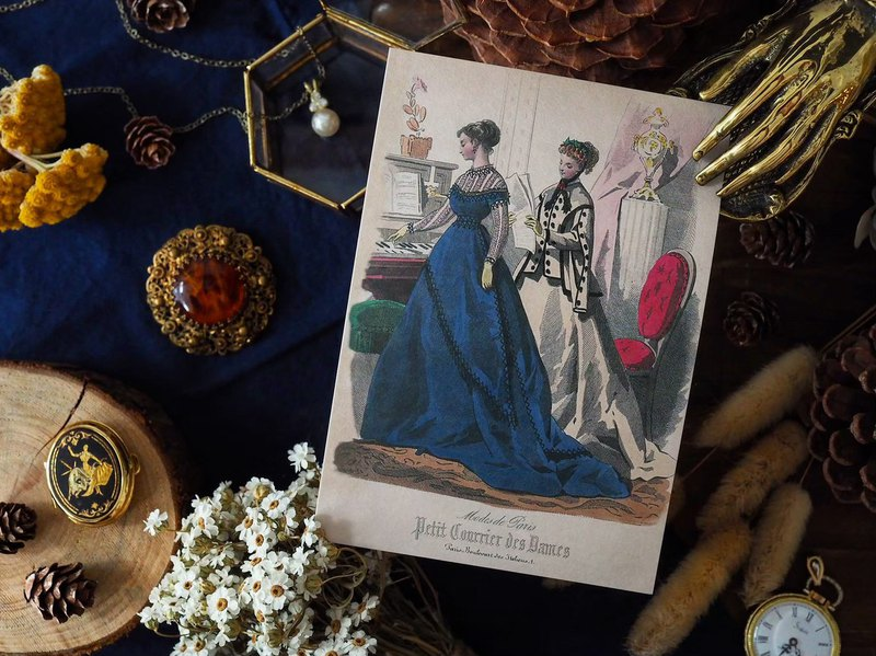 French lady costume illustration series reissue postcard C