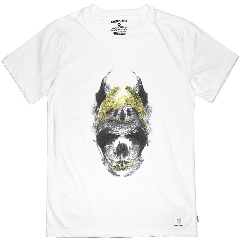 British Fashion Brand -Baker Street- Golden Feather Skull Printed T-shirt