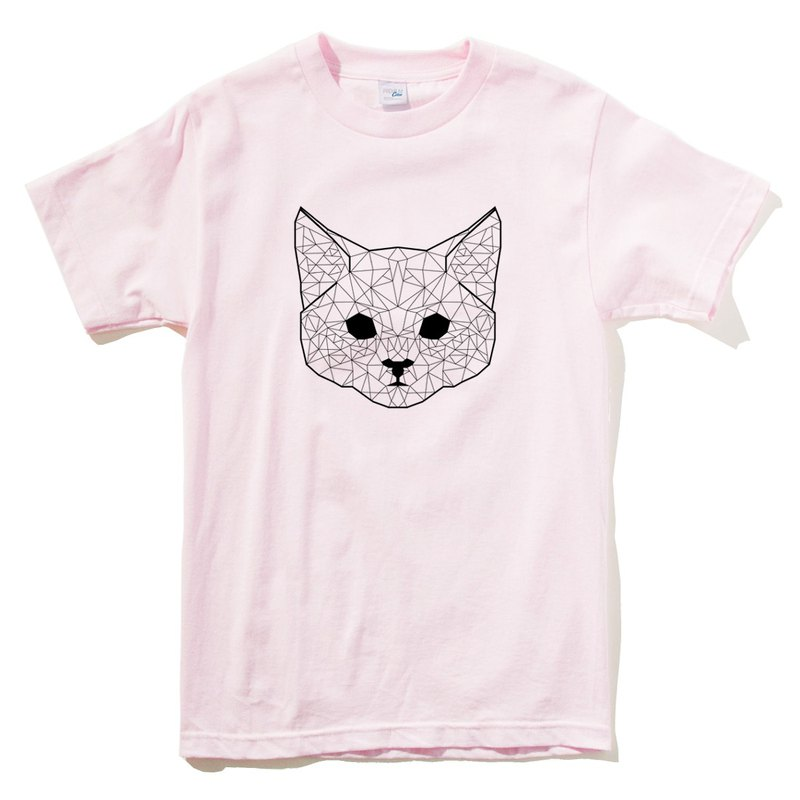 Geometric Cat #2 pink t shirt