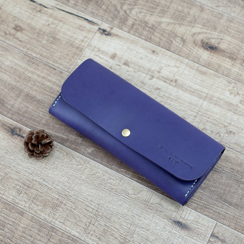 Handmade leather long clip full cowhide wallet zipper wallet lovers gift orchid purple hand-stitched Valentine's Day