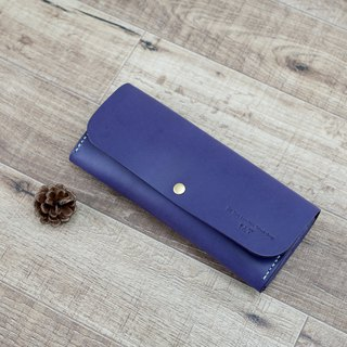 Be Two ∣ handmade leather long clip / leather wallet / zipper wallet / full leather card layer (orchid purple)