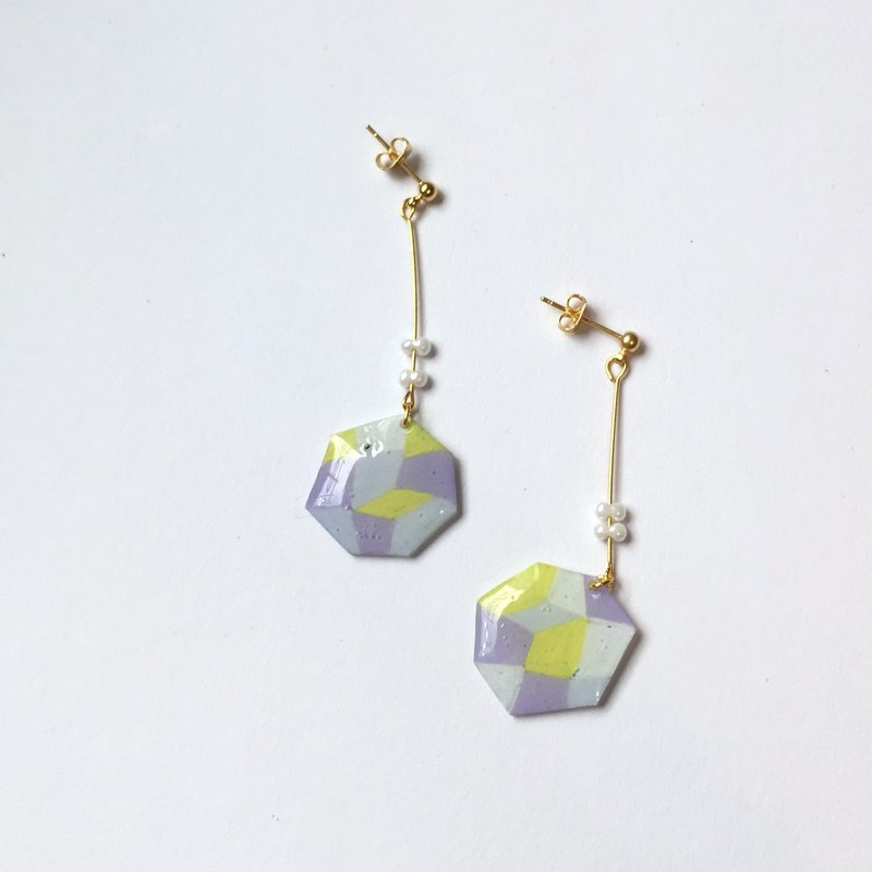 Small planet clip/needle earrings