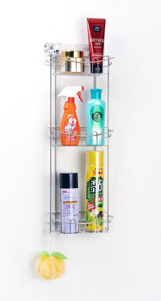 無痕貼片 不鏽鋼三層浴室架廚房架 獨特窄身設計 瓶罐架置物架