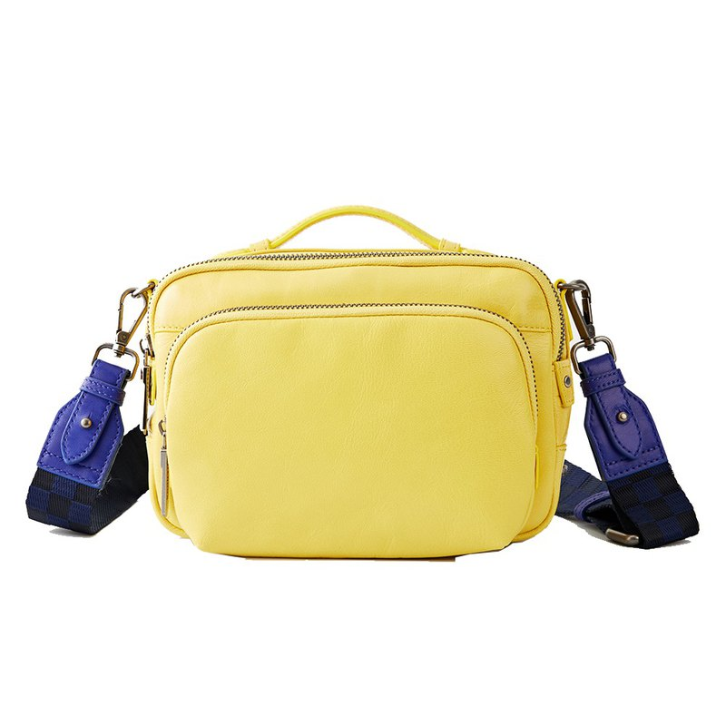 【Filter 】Cow leather classic washed camera bag-bright yellow