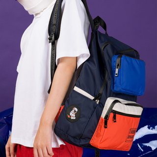 KIITOS waterproof nylon polyester contrast color street shoulder bag backpack - navy blue astronaut
