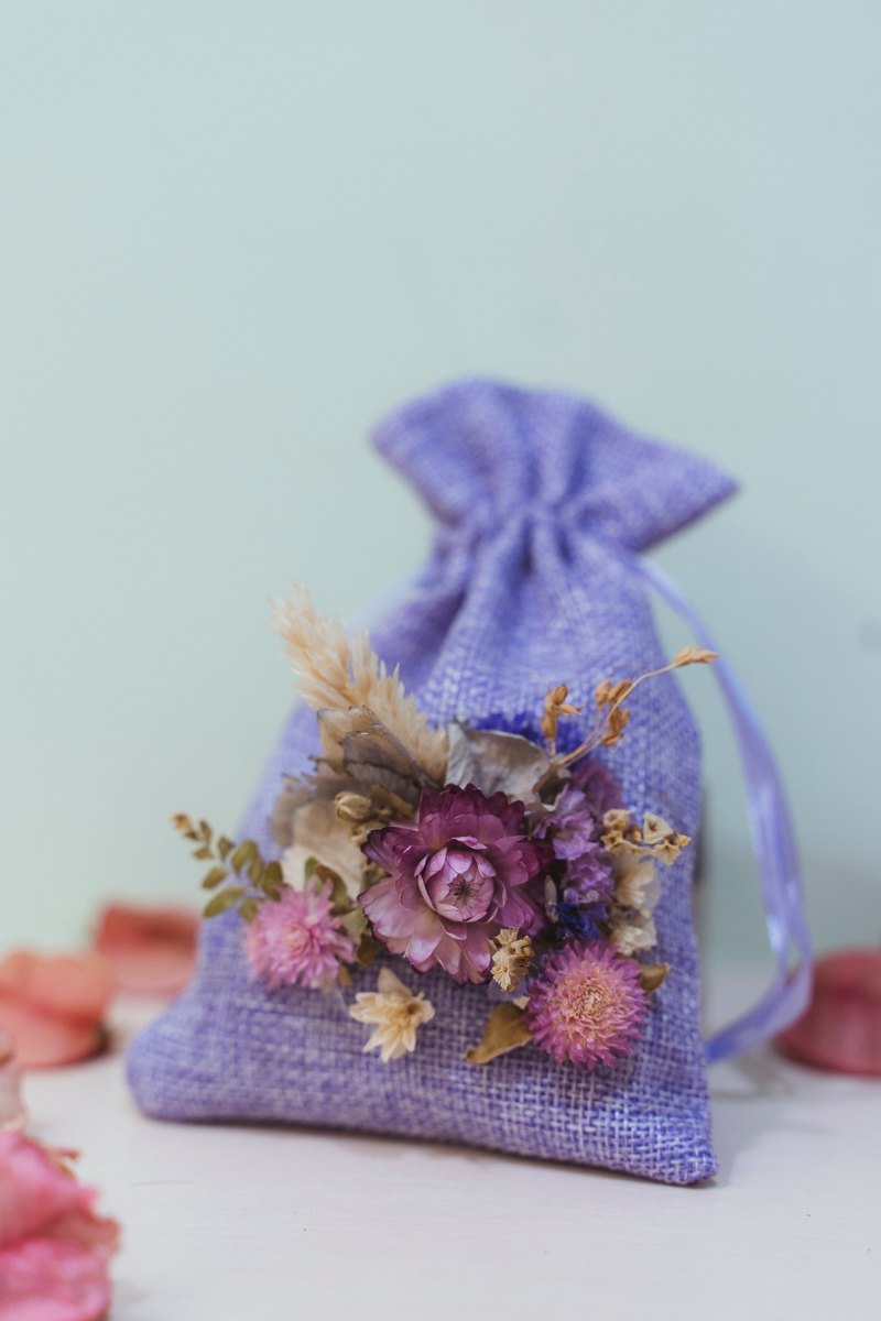 Lavender sachets are consistent with lavender purple