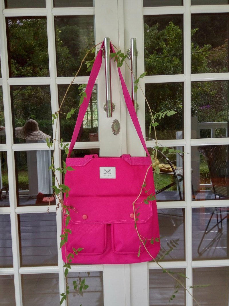 LaPoche Secrete: Wen Qing gift _ pink water-repellent dual-use canvas bag _ can be shoulder back