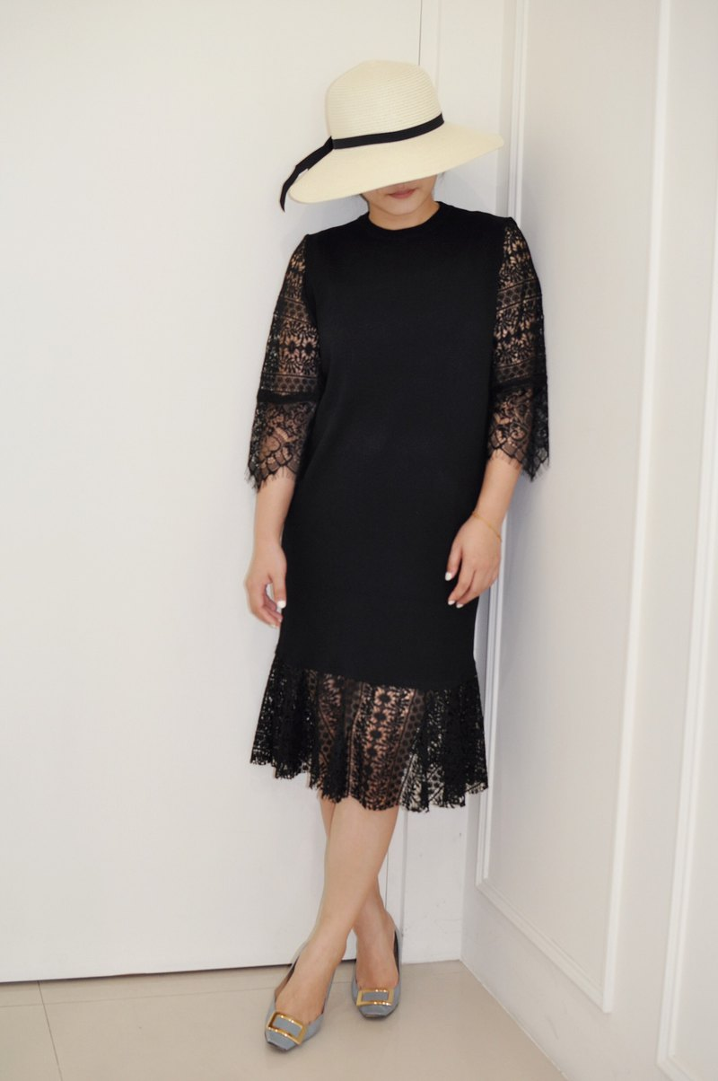 Flat 135X Taiwan designer series black knit dress stitching embroidered lace dress