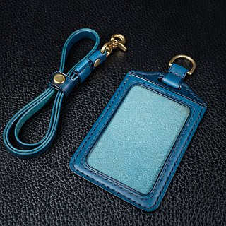 KH blue straight ID card holder, card holder, leisure card, ID card holder, Italian vegetable tanned Buttero