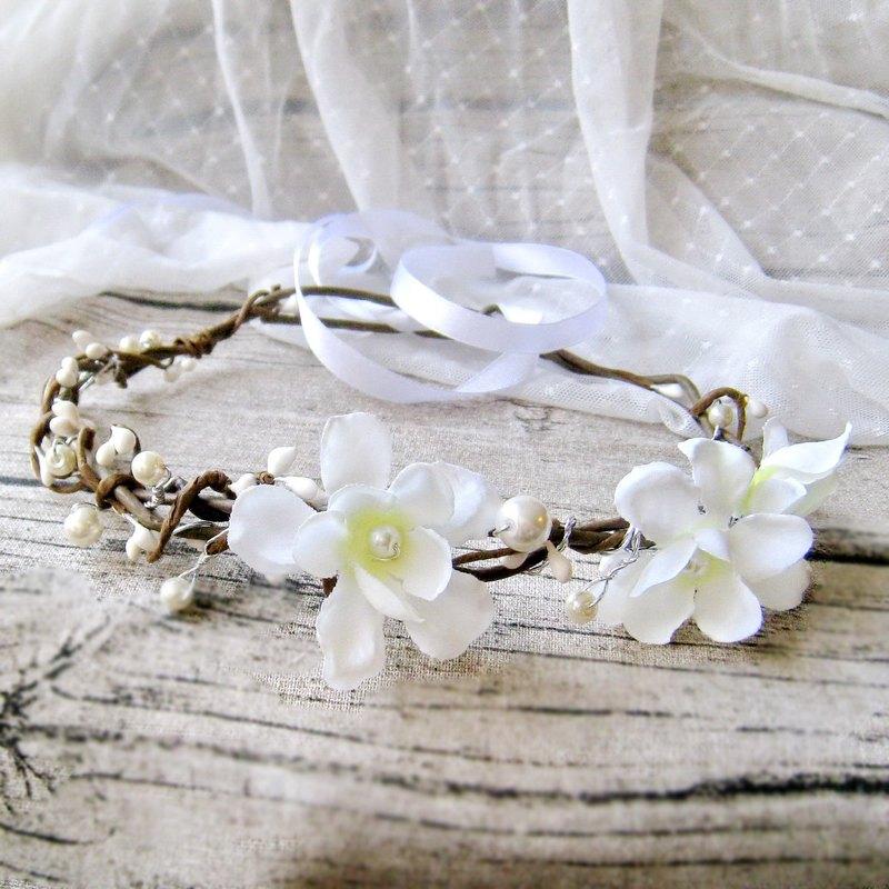 Flower crown, Rustic wedding crown, hair accessories, Bridal headpiece, Floral a