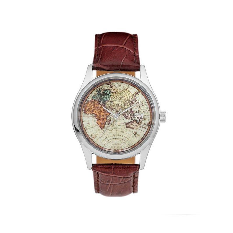 Chop Brand Swedish brand - Vintage World silver dial brown leather watch