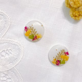 Season Flower Series - Spring Flower Language Handmade Dry Flower Embossed Ear Ear/Aurture