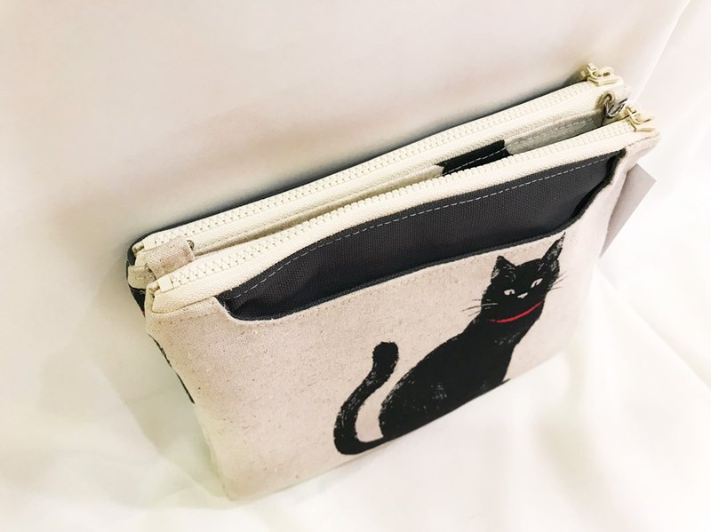 Miranda Handmade five-layer multi-function light bag - afternoon lazy black cat