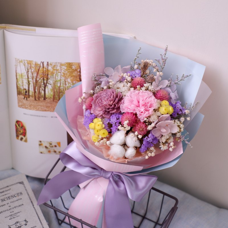To be continued | Mother's Day limited pink blue not withered carnation dry flower bouquet spot