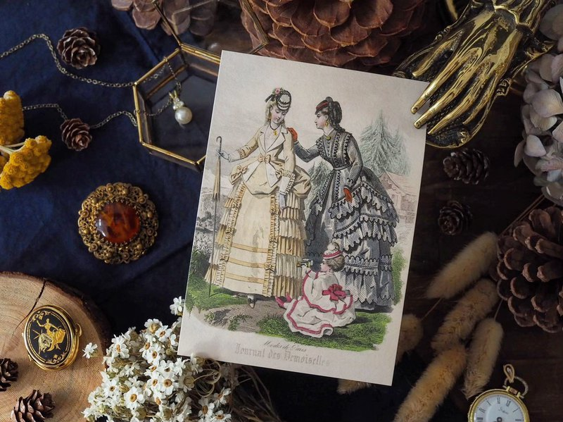 French ladies clothing illustration series reissue version postcard K