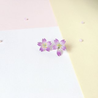 [Sakura Limited Edition] Romantic Night Purple Cherry blossoms Flower hand painted irregular earrings