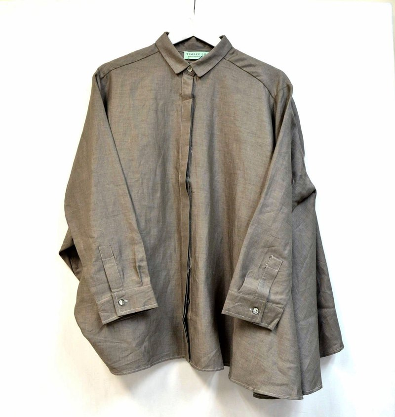 TIMBEE LO metallic coating cape shirt coat cotton army green micro reflective fabric