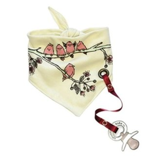Tie-on bib scarf behind cherry tree and flowers (with pacifier chain)