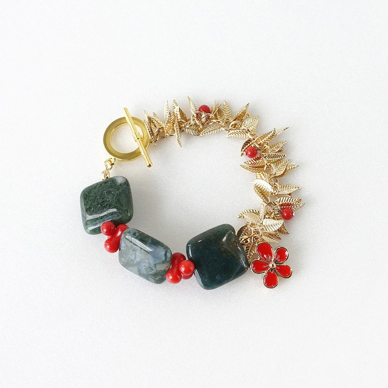 Festive Theme Bracelet, Green Moss Agate, Red Coral and Gold Leafy Chain