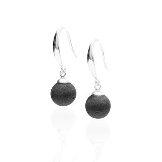 Mini moon full eclipse cement earrings (ear hook style) | planet series