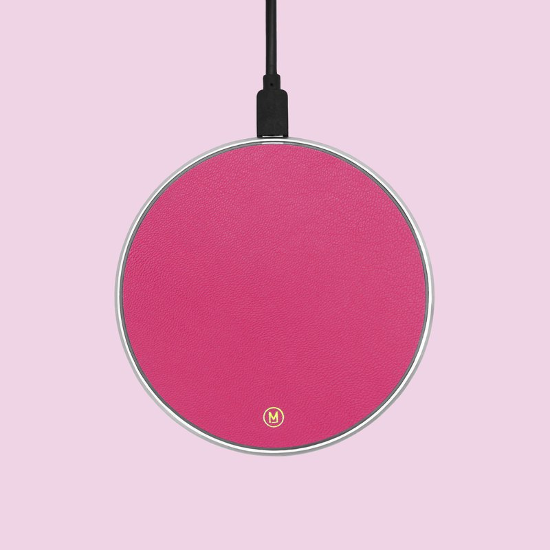 Customized genuine leather pink macaron wireless charging pad charging cable