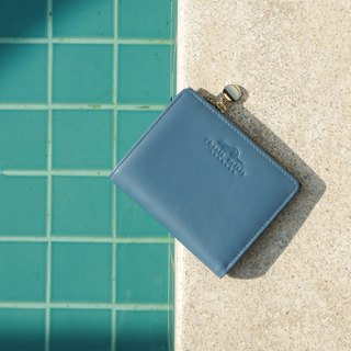 (LIMITED) PEONY - SMALL LEATHER SHORT WALLET WITH COIN PURSE- TEAL (LIGHT BLUE)