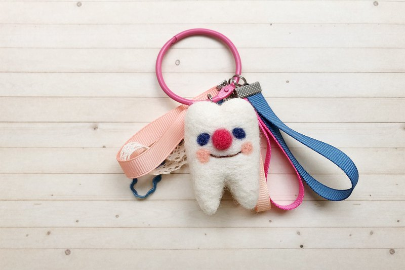 Wool felt tooth charm key ring