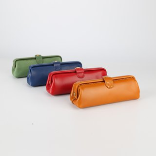 [Cut]Pure handmade leather pencil bag imported leather art simple retro pencil mouth gold version