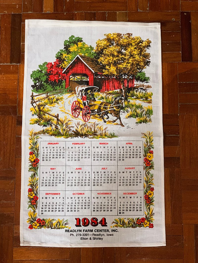 1984 American early cloth calendar carriage