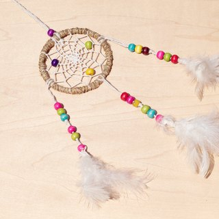 Hand-woven cotton rainbow colors Dreamcatcher Charm - Original color + color wooden beads (small)