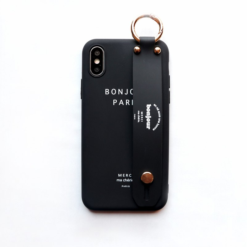 Carbon black BONJOUR hand with phone case