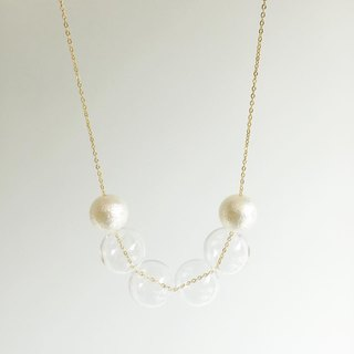 Laperle <<迷幻系列>>  白色 clubbing 幾何 閃爍 玻璃球 項鏈 頸鏈 Golden Silver Color Glass Ball Necklace Geometric
