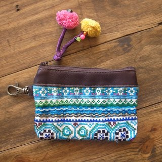 【Grooving the beats】[ Fair Trade] Leather Top Vintage Coin Purse(Blue)