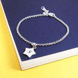 Lucky Star Dangle Star 925 Sterling Silver Customized Lettering Bracelet
