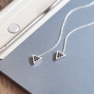 Black triangle long chain earrings silver 925