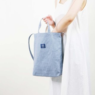 Two-color canvas three-use bag _ washed gray blue + beige