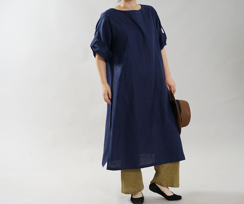 wafu Linen dress / short sleeves / midi length / long side slit a043b-obn1