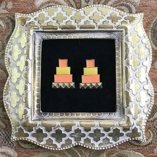 Orange Square Antique Earrings BKA039