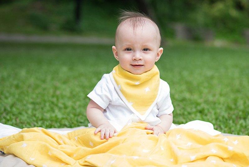 Organic B 有機比比 彌月禮嬰兒有機棉紗圍兜/口水巾-日光小鳥