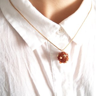 Japanese round wonderful people hand woven orange copper ball with jelly color pendant chain