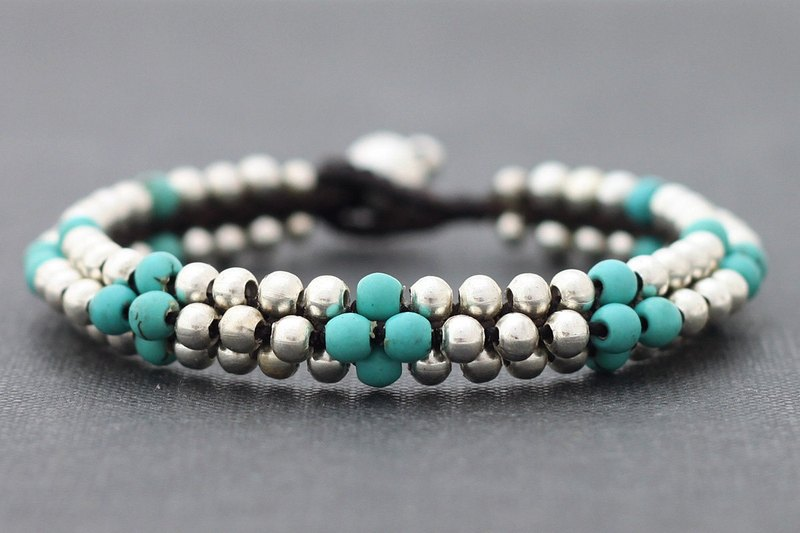 Round Turquoise Silver Beaded Bracelets Cuff Bangle