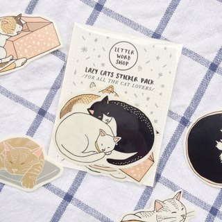Lazy cat sticker pack / 8 pieces stickers