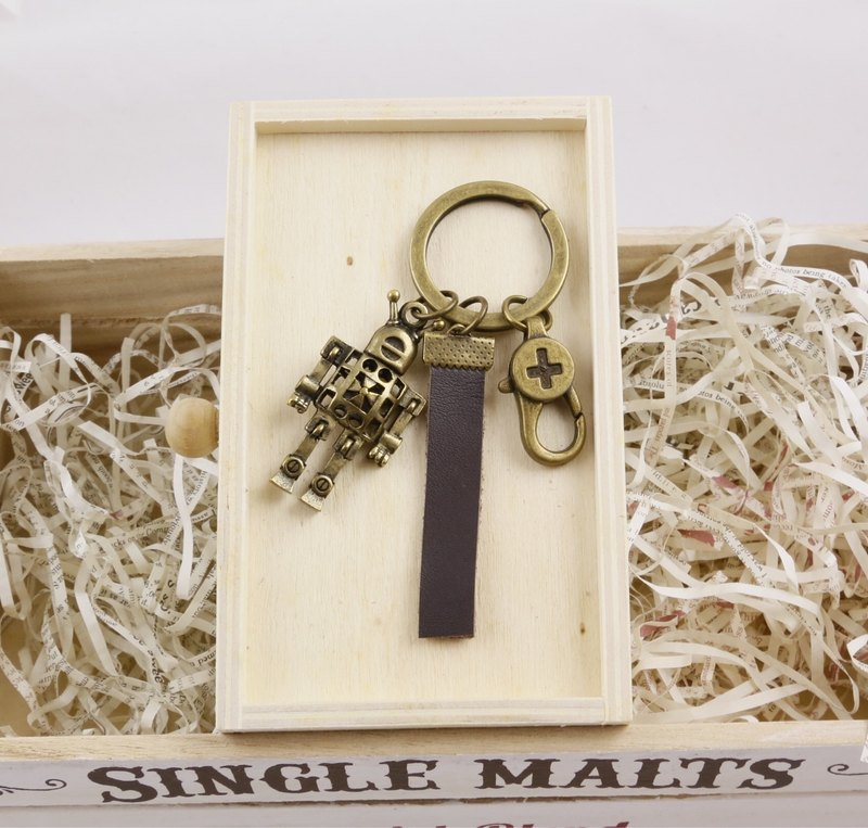 Square industrial wind robot charm / key ring