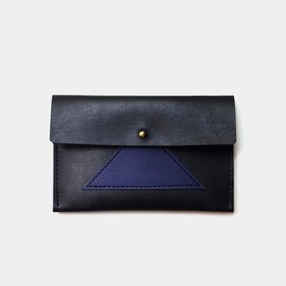 [Sea urchin rice ball lunch box] leather business card holder leather card holder leisure card holder black X blue stitching
