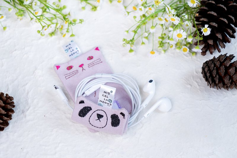 Earphones and Charger Organizer - The three pals | Panda - light purple