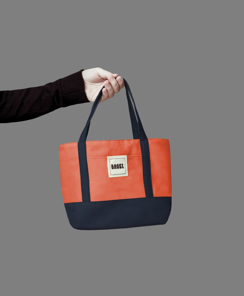 Classic color matching small tote bag / tote bag / lunch bag / coral orange + Tibetan blue